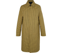Oversized Houndstooth Virgin Wool And Cotton-blend Coat - Yellow