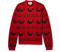 Fair Isle Jacquard Wool And Alpaca-blend Sweater - Red