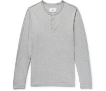 Mélange Ring-spun Cotton-jersey Henley T-shirt - Gray