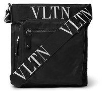 Valentino Garavani Rockstud Logo Webbing-Trimmed Nylon Messenger Bag