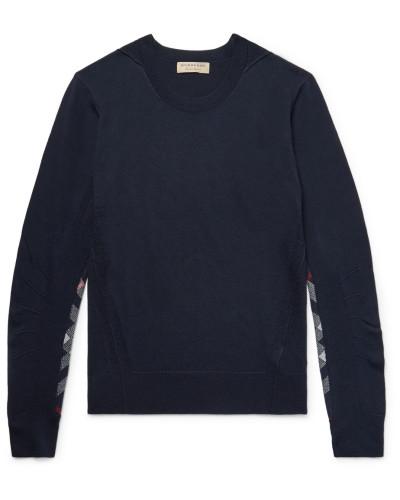 Check-panelled Merino Wool Sweater