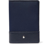 Sartorial Jet Cross-grain Leather-trimmed Shell Bifold Cardholder - Blue