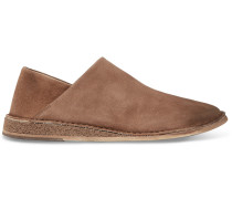 Stag Collapsible-heel Suede Loafers - Light brown