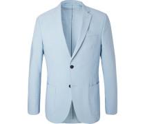 Blue 375 Slim-fit Unstructured Stretch-cotton Seersucker Blazer