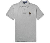 Embroidered Mélange Cotton-piqué Polo Shirt