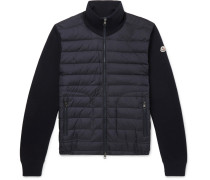 Panelled Jersey And Quilted Shell Down Jacket - Midnight blue