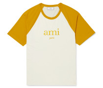 Embroidered Two-tone Jersey T-shirt - Mustard