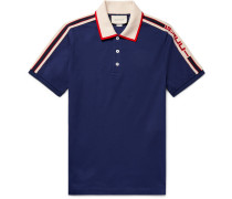 Webbing-trimmed Stretch-cotton Piqué Polo Shirt