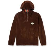 Oversized Logo-Appliquéd Cotton-Blend Velvet Half-Zip Track Jacket