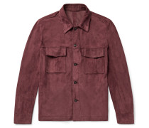 Suede Shirt Jacket - Burgundy