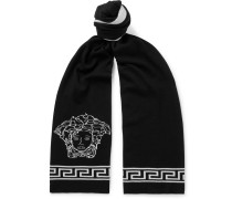Logo-intarsia Wool And Silk-blend Scarf - Black