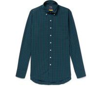 Slim-fit Button-down Collar Black Watch Checked Cotton Shirt - Green