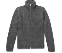 Ribbed Mélange Wool Zip-up Sweater - Gray