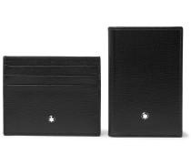 Cross-grain Leather Billfold Wallet And Cardholder Gift Set - Black