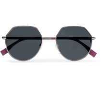 Hexagon-frame Gunmetal-tone Sunglasses - Gunmetal