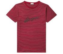 Logo-print Striped Cotton-jersey T-shirt - Red