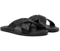 Logo-Embossed Leather Sandals