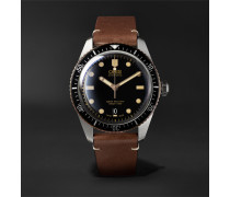Divers Sixty-five Automatic 42mm Stainless Steel And Leather Watch - Black