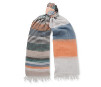 Grafton Striped Fringed Cotton-Voile Scarf