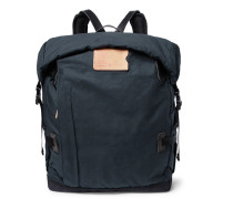 Basile Leather-Trimmed Waxed-Cotton Ripstop Backpack