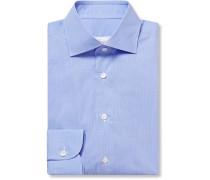 Blue Checked Cotton-Poplin Shirt