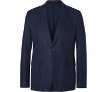 Navy Edgar Slim-fit Unstructured Linen Blazer