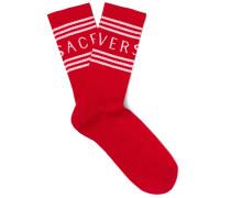 Logo-jacquard Ribbed Stretch Cotton-blend Socks - Red