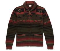 Winter Woods Shawl-collar Wool-blend Jacquard Zip-up Cardigan - Army green