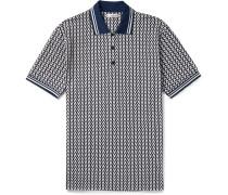 Stripe-trimmed Logo-jacquard Cotton-piqué Polo Shirt - Navy