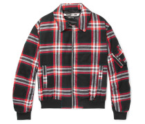 Quilted Checked Brushed-cotton Blouson Jacket
