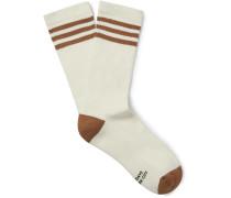Striped Ribbed Stretch Cotton-Blend Socks