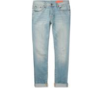 Kip Slim-fit Tapered Distressed Selvedge Denim Jeans