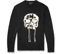 Slim-fit Skull-intarsia Wool Sweater