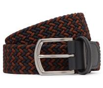 3.5cm Navy Leather-Trimmed Woven Elastic Belt