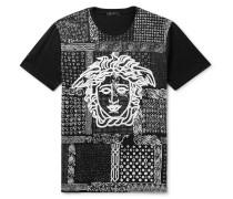 Slim-fit Printed Cotton-jersey T-shirt - Black