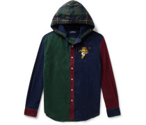 Logo-Embroidered Checked Cotton-Corduroy Hooded Shirt