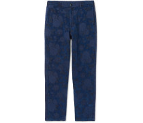 Indigo-Dyed Cotton-Blend Trousers