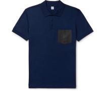 Slim-Fit Leather-Trimmed Cotton-Piqué Polo Shirt
