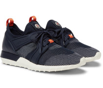 Emilien Leather And Rubber-trimmed Mesh Sneakers - Navy