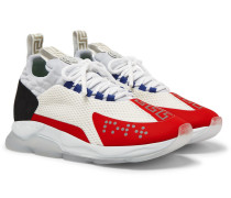 Cross Chainer Mesh, Neoprene And Suede Sneakers - White