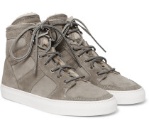 Seaham Ii Shearling-lined Suede High-top Sneakers - Gray
