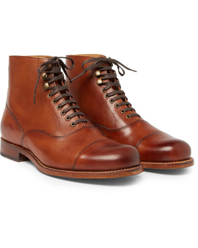 Leander Cap-toe Burnished-leather Boots - Tan