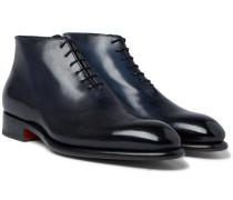 Whole-cut Burnished-leather Oxford Boots