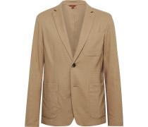 Tan Borgo Unstructured Woven Suit Jacket