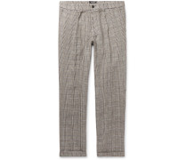 Grey Slim-Fit Checked Linen Trousers