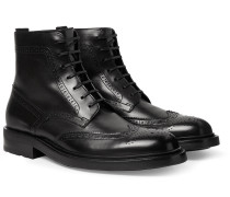 Polished-Leather Wingtip Brogue Boots