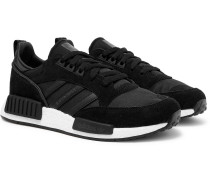 Boston Super X R1 Suede, Leather And Mesh Sneakers - Black