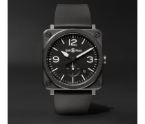 BR S 39mm Ceramic and Rubber Watch, Ref. No. BRS-BL-CEM