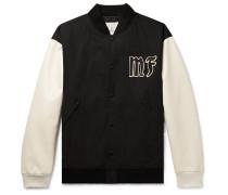 7 Moncler Fragment Appliquéd Cotton and Leather Bomber Jacket
