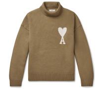 Logo-Intarsia Merino Wool Rollneck Sweater